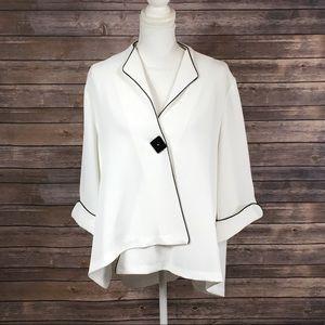 K by Connie K White 1 Button Blazer/Top
